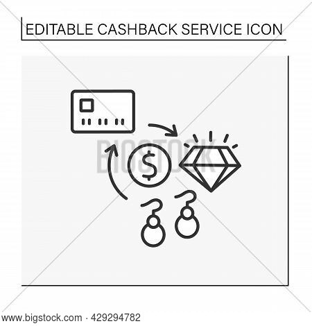 Purchases Line Icon. Buying Jewelry. Refund Small Percentage Of Money From Buying Fashionable Access