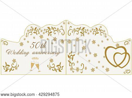50th Wedding  Anniversary Card For Greetings And Writing Text Vector Illustration. Golden  Anniversa