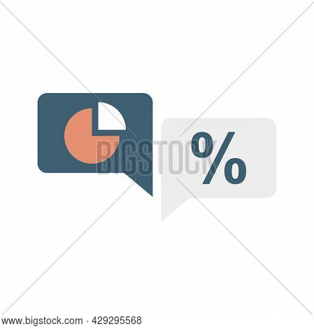 Conversion Rate Chat Icon. Flat Illustration Of Conversion Rate Chat Vector Icon Isolated On White B