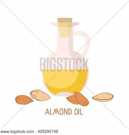 Almond Oil In Glass Bottles And Almond Nut. Organic Health Care Products. Healthy Nutrition Product.