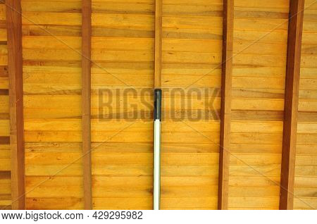 Wood. Wooden Ceiling With Cut Led Light, Beams And Rafters In Symmetry, In Natural Wood Color, Brazi