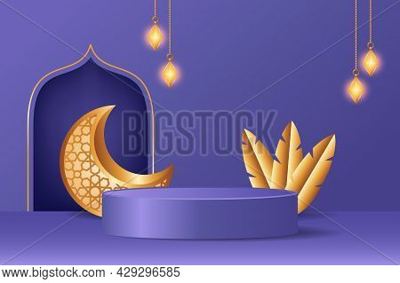 Islamic 3D Display Podium Decoration In Purple Background With Realistic Golden Crescent Moon And Ha