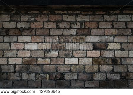 Empty Old Brick Wall Texture. Background Of The Old Red Brick Walls. Rustic Style, Dark Tone, Copy S