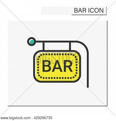 Bar Sign Color Icon. Bright Neon Signboard. Advertisement, Pointer. Night Luminous Billboard. Cockta