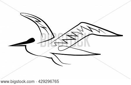 Silhouette Of A Seagull Sea Bird In Black Lines On A White Background For Logo, Icons