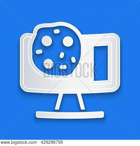Paper Cut Genetic Engineering Modification On Laptop Icon Isolated On Blue Background. Dna Analysis,