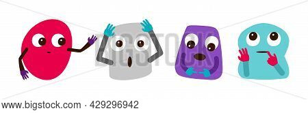 Crazy Abstract Characters. Emotional Faces, Cute Cartoon Shapes With Eyes Vector Set
