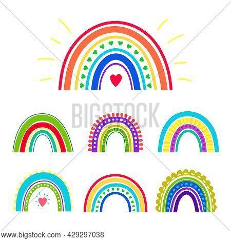 Hand Drawn Rainbows. Heaven Colors Boho Cute Scandinavian Rainbow Set, Cartoon Love Vintage Symbols,