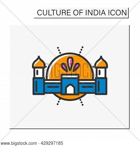 Agra Fort Color Icon. Red Majestic Stone Fortress, Mughal Monument. World Heritage. Indian Landmark.