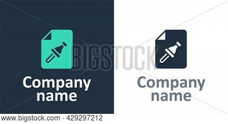 Logotype Note Paper With Pinned Pushbutton Icon Isolated On White Background. Memo Paper Sign. Logo