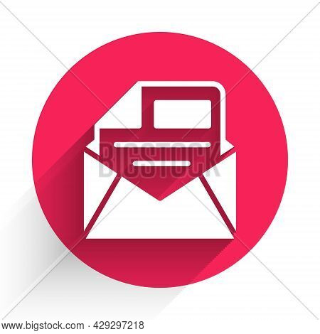 White Mail And E-mail Icon Isolated With Long Shadow Background. Envelope Symbol E-mail. Email Messa