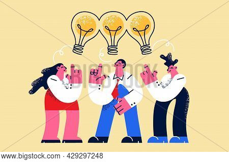 Sharing Ideas, Teamwork, Collaboration Concept. People Partners Thinking Same Idea Concept, Standing