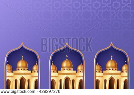 Luxury Islamic Background With Realistic 3D Golden Mosque. Islamic Background Suitable For Ramadan,