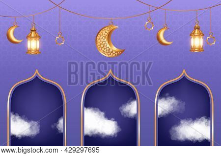 Luxury Islamic Background With Realistic 3D Clouds And Golden Crescent Moon Decorations. Islamic Bac