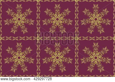 Classic Raster Golden Seamless Pattern. Seamless Pattern On Brown, Purple And Neutral Colors With Go