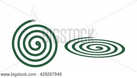 Mosquito Repellent Coil Icon.killer Of Insects, Mosquitoes, Flies. Smoldering Incense Spiral. Vector