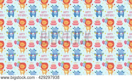 Happy Birthday Pattern, Banner. Cute Animal Lion With Balloons, Rhino, Cake. Holiday Decoration, Cel