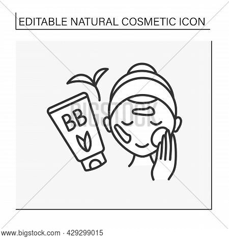 Cosmetology Line Icon. Woman Smears Cream On Face. Makeup Artist. Beautiful Bb Foundation. Beauty Pr