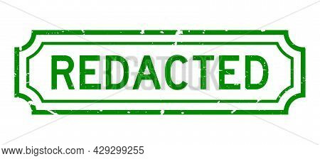 Grunge Green Redacted Word Rubber Seal Stamp On White Background