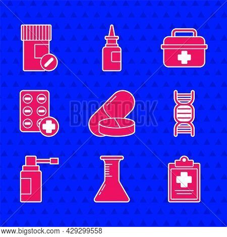 Set Medicine Pill Or Tablet, Test Tube And Flask, Medical Clipboard With Clinical Record, Dna Symbol