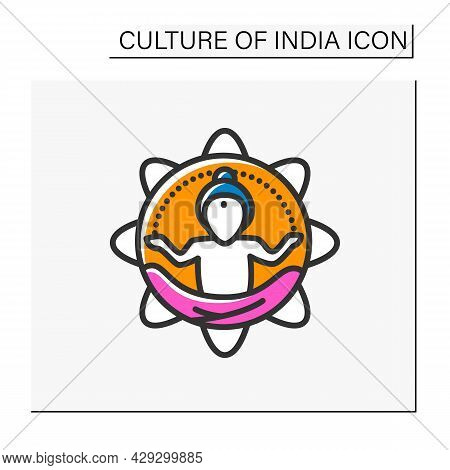 Yoga Master Color Icon. Meditation, Concentration, Relaxation, Internal Peace Practicing. Yoga Guru.