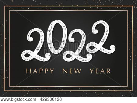 2022 Happy New Year Modern Brush Typography Poster Width Golden Texture. 2022 New Year Card, Postcar