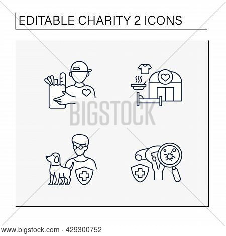 Charity Line Icons Set. Volunteer, Shelter, Blind And Visually Impaired And Cancer Charities. Volunt