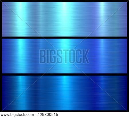 Metal textures set, shiny blue lustrous metallic backgrounds, brushed metal illustration.