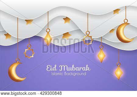Eid Mubarak Background In Paper Cut Style With Clouds And Decorations. Islamic Background Suitable F