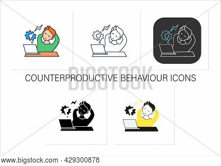 Workaholic Icons Set. Counterproductive Behaviour. Rest On Workplace. Man Relax, Dont Think About Wo