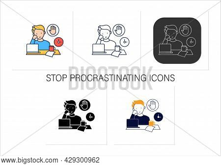 Stop Procrastinating Icons Set.ready To Work. Minimize Distractions. Commit Tasks.procrastination Co