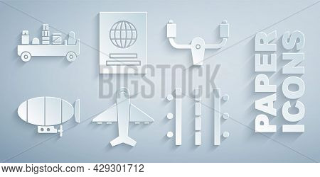 Set Plane, Aircraft Steering Helm, Airship, Airport Runway, Passport And Luggage Towing Truck Icon.