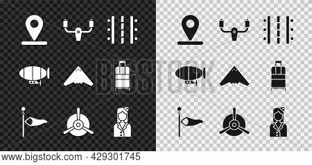Set Location, Aircraft Steering Helm, Airport Runway, Cone Meteorology Windsock Wind Vane, Plane Pro