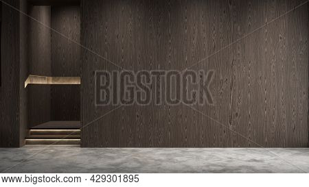 Modern Wooden Empty Interior With Blank Wall, Panel And Concrete Floor. 3d Render Illustration Mocku