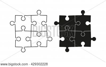 Puzzle Icon. Jigsaw With Four Piece. Logo For Logic And Business Solution. 4 Part Of Puzzle For Game