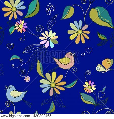 Seamless Pattern With Birds, Butterflies, Anemones, Wild Flowers And Rainbow Colors. Small Flowers I
