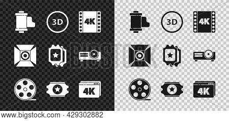 Set Camera Vintage Film Roll Cartridge, 3d Word, 4k Movie, Tape, Frame, Film Reel, Cinema Ticket, On