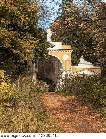 Milovida Pavilion In Tsaritsyno Park On Autumn Day. Moscow. Russia