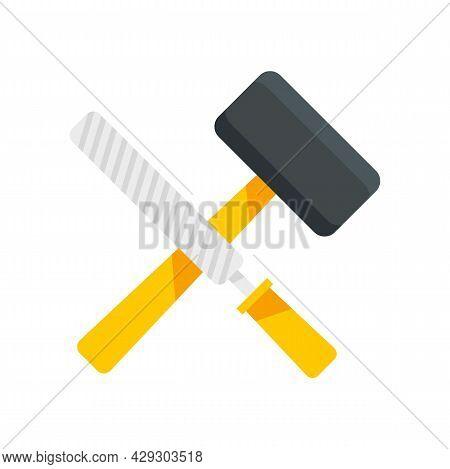 Reconstruction Hammer Tools Icon. Flat Illustration Of Reconstruction Hammer Tools Vector Icon Isola
