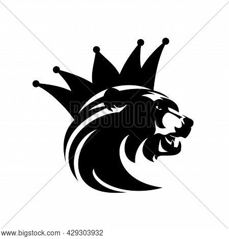 Roaring Bear Head And Royal Crown - King Animal Black And White Vector Portrait Design