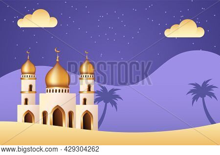 Islamic Background With Mosque In The Middle Of Desert. Islamic Background Suitable For Ramadan, Eid