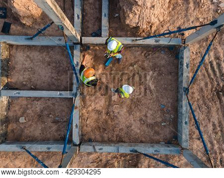 Top View Construction Site Work, Team Engineer Contractor Working Inspection Structure Prefabricated