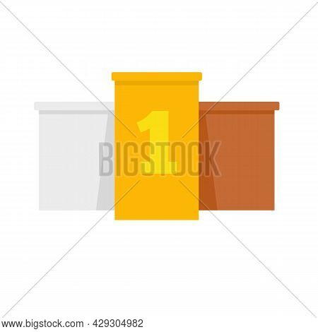 Excellence Podium Icon. Flat Illustration Of Excellence Podium Vector Icon Isolated On White Backgro
