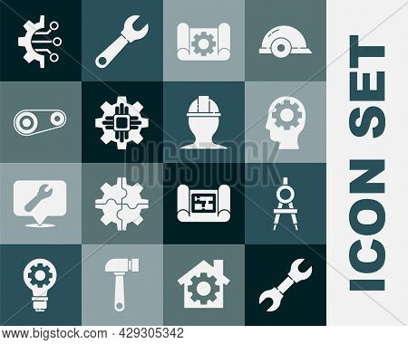 Set Wrench Spanner, Drawing Compass, Human Head With Gear Inside, Graphing Paper And, Processor, Tim