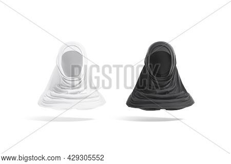Blank Black And White Female Al-amira Mockup, Front View, 3d Rendering. Empty Arabian Cotton Covered