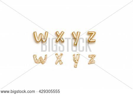 Inflated, Deflated Gold W X Y Z Letters, Balloon Font, 3d Rendering. Empty Decor Foil Typeset For Pa