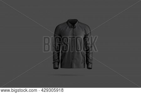 Blank Black Classic Shirt Mockup, Dark Background, 3d Rendering. Empty Cloth Strict Male Blouse For