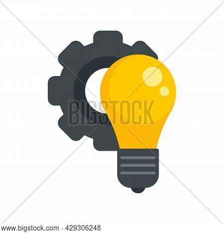Gear Bulb Innovation Icon. Flat Illustration Of Gear Bulb Innovation Vector Icon Isolated On White B
