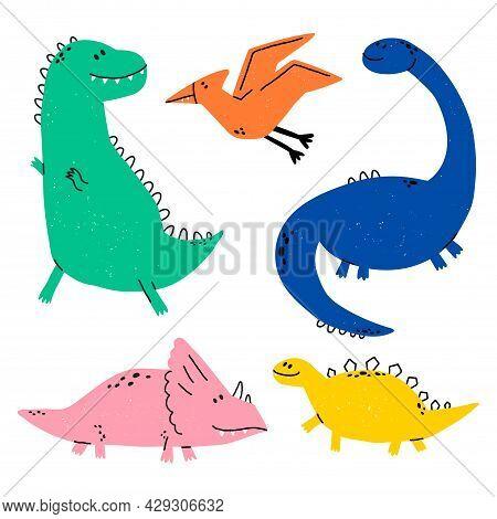 Hand Drawn Dinosaurs. Dino Vector Set In Cartoon Scandinavian Style. T Rex, Diplodocus, Pterodactyl,