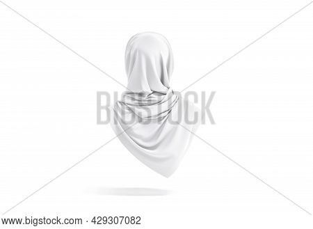 Blank White Woman Muslim Hijab Mockup, Back View, 3d Rendering. Empty Female Chiffon Accessories For